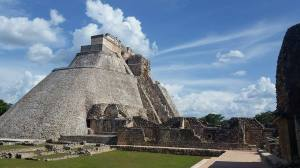 The Pyramid of the Magicians at Uxmal greets visitors as they enter the site