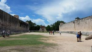 The Ball Court used to play the Mesoamerican Ball Game, in which teams of seven used their hips, knees, elbows, and chest to keep a 3-kilo rubber ball in the air and hit it through a hoop. It is unclear and still debated whether it was the winning or losing captain sacrificed to the gods.