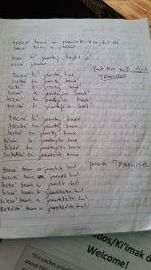 One of at least ten pages of conjugations I've learned. And it's only day 3 of Mayan class!